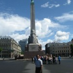 Freedom Monument holds 3 stars in her hand symbolizing 3 latvian regions