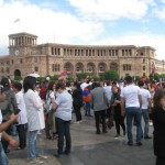 Peoples of Armenia gathered  near Parliament on the victory day on 8th May 2018
