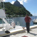 The Pitons, two mountainous volcano plugs, volcano spires, St. Lucia. The Pitons are World Heritage Sites